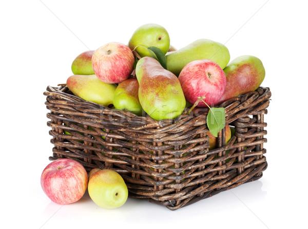 梨 リンゴ バスケット 孤立した 白 食品 ストックフォト © karandaev