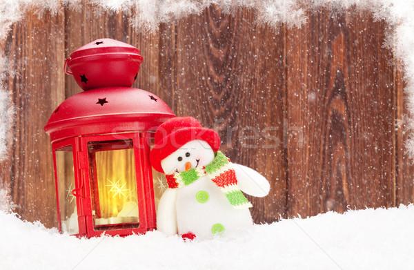 Navidad vela linterna muñeco de nieve juguete nieve Foto stock © karandaev