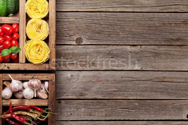 ストックフォト: 料理 · 材料 · パスタ · 野菜 · スパイス · 先頭