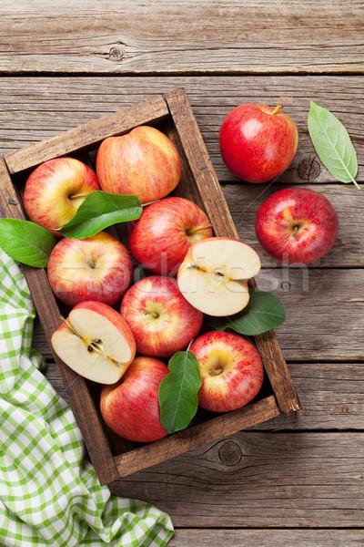 Stockfoto: Rood · appels · houten · vak · rijp · houten · tafel