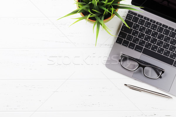 Iroda munkahely asztal készlet laptop felső Stock fotó © karandaev