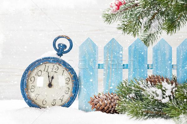 Stock foto: Weihnachten · Wecker · Zweig · bedeckt · Schnee
