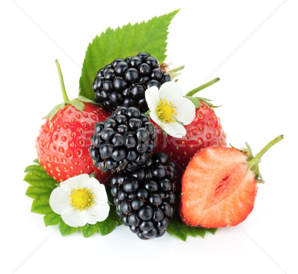 Strawberry and blackberry fruits Stock photo © karandaev