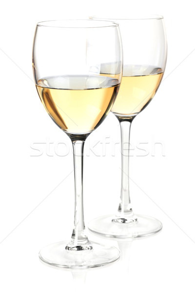 Wine collection - White wine in glasses. Isolated on white backg Stock photo © karandaev