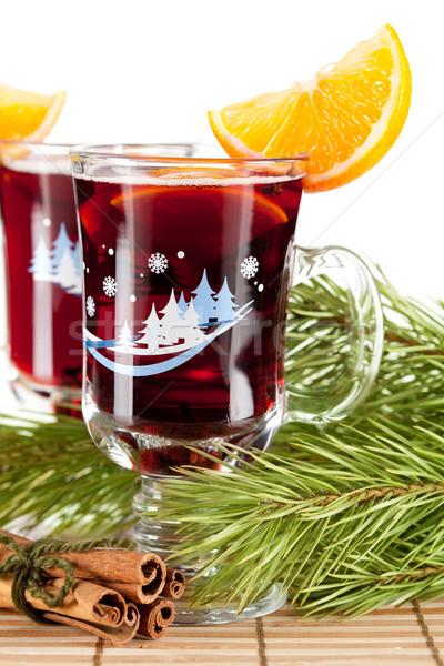 Сток-фото: вино · оранжевый · Ломтики · корицей · дерево · очки