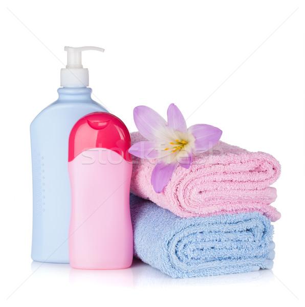 şampuan jel şişeler çiçek yalıtılmış Stok fotoğraf © karandaev