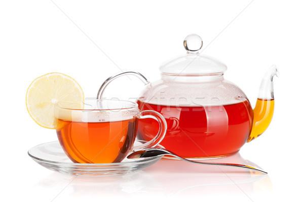 ガラス カップ レモンスライス ティーポット 黒 茶 ストックフォト © karandaev