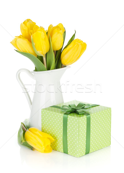 Yellow tulips in a jug and gift box Stock photo © karandaev