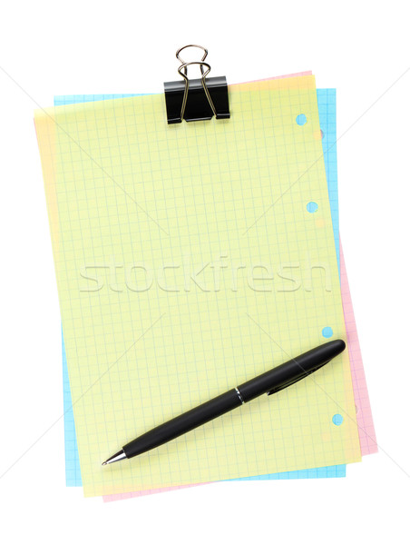 Colorful lined office paper with clip and pen Stock photo © karandaev