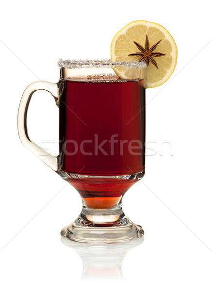 Hot mulled wine with lemon slice and anise Stock photo © karandaev