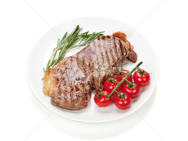 Lendenen biefstuk rosmarijn kerstomaatjes plaat geïsoleerd Stockfoto © karandaev