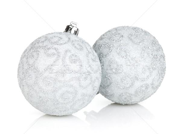 Silver christmas baubles Stock photo © karandaev