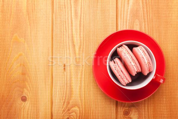Pink macaron cookies Stock photo © karandaev