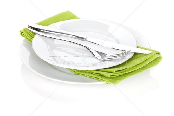 Ezüst étkészlet szett villa kés tányérok izolált Stock fotó © karandaev