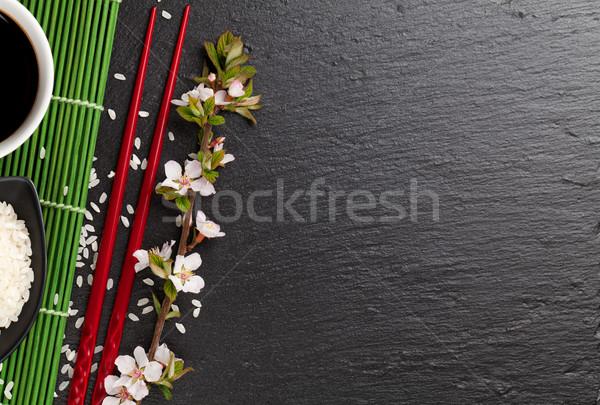 Japonês sushi molho de soja tigela arroz Foto stock © karandaev