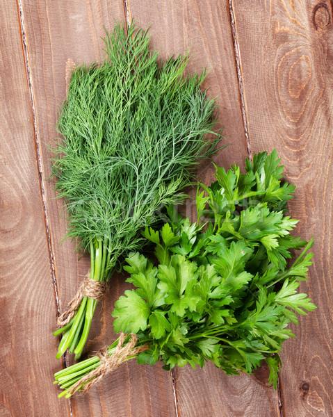 Fresh garden dill and parsley Stock photo © karandaev