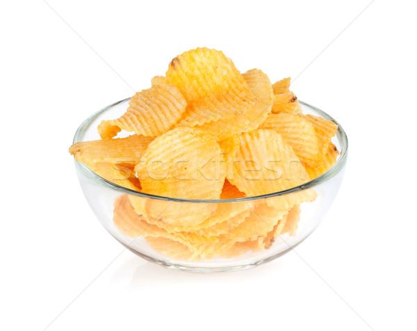 Chips glas kom geïsoleerd witte voedsel Stockfoto © karandaev