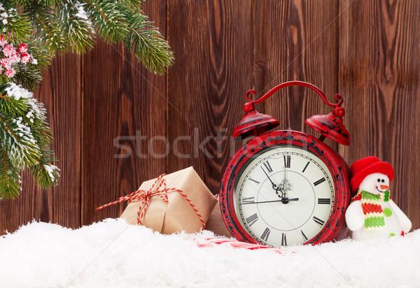Stok fotoğraf: Noel · hediye · kutuları · çalar · saat · şube · kardan · adam
