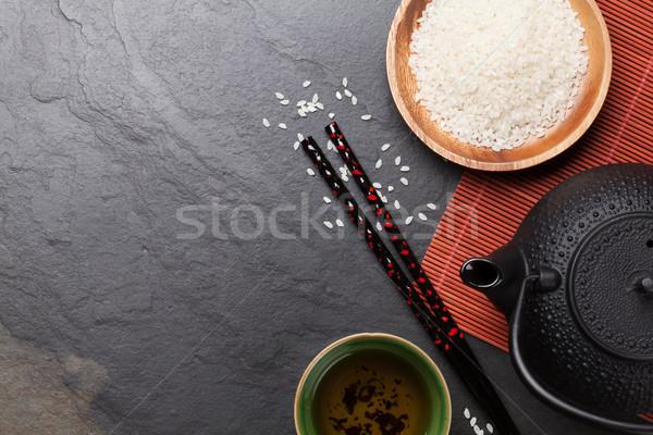 Asiático chá tigela bule pedra tabela Foto stock © karandaev