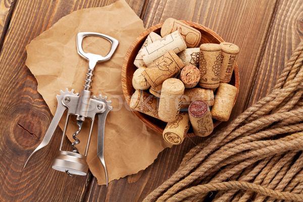 вино штопор деревенский деревянный стол бумаги древесины Сток-фото © karandaev