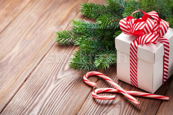 Photo stock: Noël · coffret · cadeau · bonbons · canne · branche