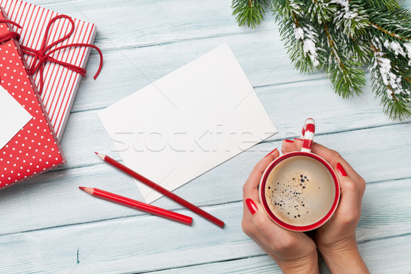Christmas greeting card and gift boxes Stock photo © karandaev