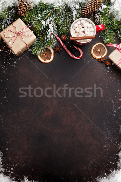Photo stock: Noël · chocolat · chaud · guimauve · haut · vue