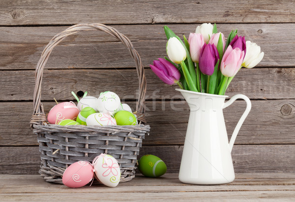 Stock photo: Easter eggs and colorful tulips