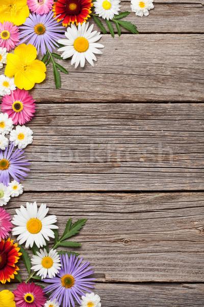 Garden flowers on wood Stock photo © karandaev