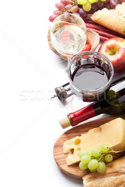 Rood witte wijn druif kaas worstjes brood Stockfoto © karandaev