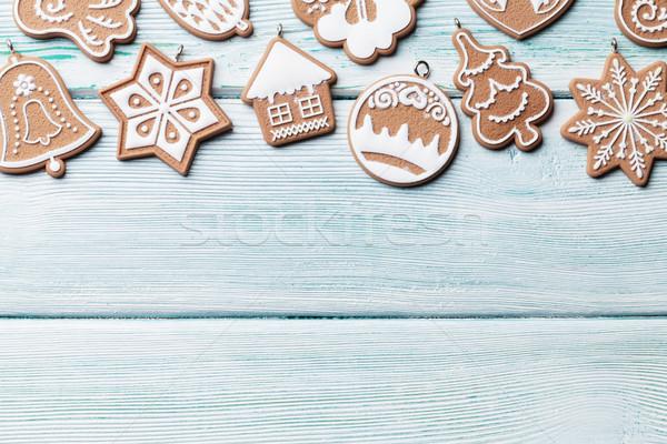 Christmas piernik cookie górę widoku Zdjęcia stock © karandaev