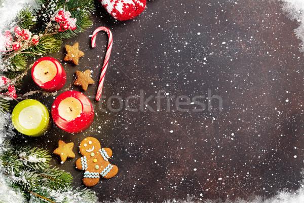 Foto stock: Navidad · navidad · tarjeta · de · felicitación · nieve · decoración