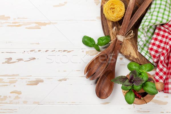料理 表 材料 白 木材 ストックフォト © karandaev