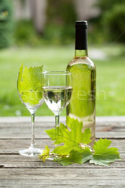 Fehérbor fehérboros üveg szemüveg szabadtér csendélet gyümölcs Stock fotó © karandaev