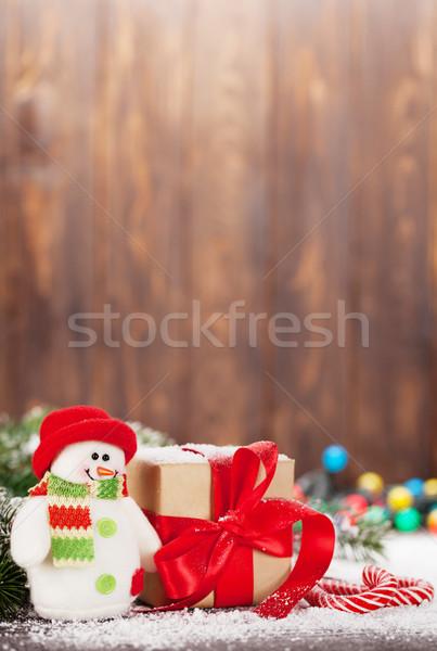 Рождества шкатулке конфеты снеговик игрушку снега Сток-фото © karandaev