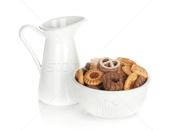 Különböző sütik tál tejesflakon izolált fehér Stock fotó © karandaev