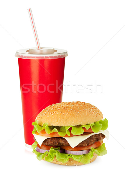 Fast food drinken hamburger drinken stro geïsoleerd Stockfoto © karandaev