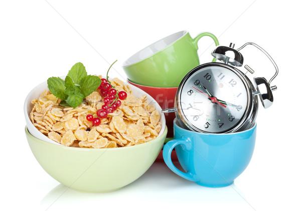 Friss gabonapehely ribiszke ébresztőóra színes csészék Stock fotó © karandaev