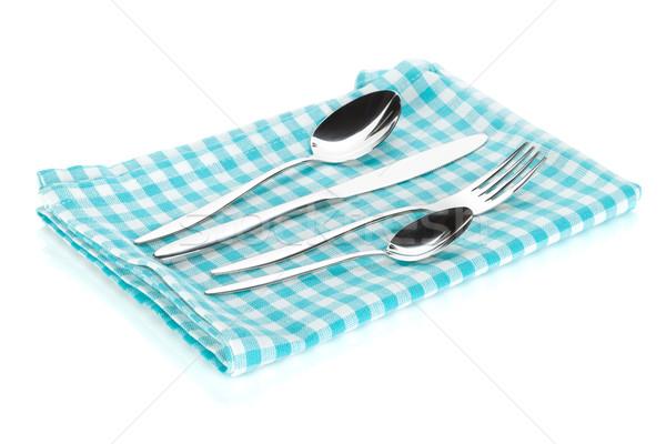 столовое серебро набор вилка ножом полотенце Сток-фото © karandaev