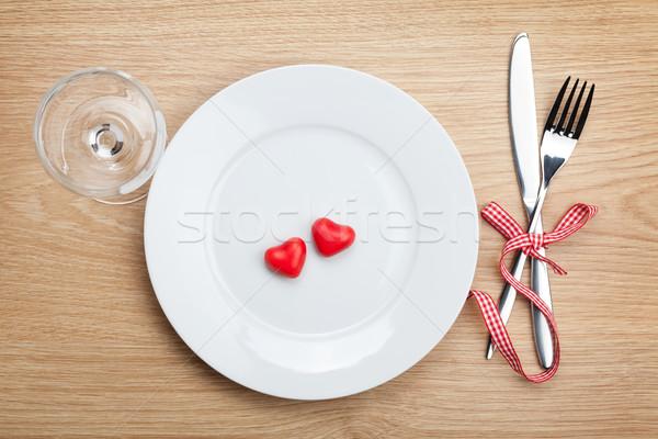 Valentin nap szív alakú cukorka tányér ezüst étkészlet Stock fotó © karandaev