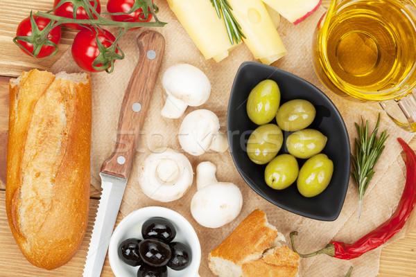 Stockfoto: Olijven · champignons · brood · groenten · specerijen · koken
