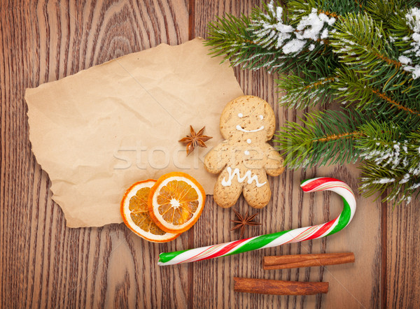 Christmas food and decor with snow fir tree Stock photo © karandaev