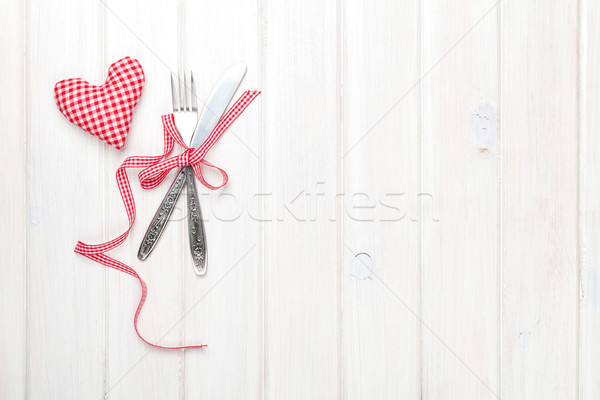 Valentines day heart shaped toy gift and silverware Stock photo © karandaev