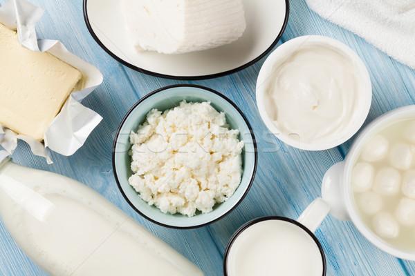 Zure room melk kaas ei yoghurt Stockfoto © karandaev