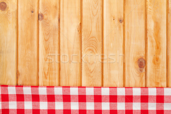Rood handdoek houten keukentafel exemplaar ruimte Stockfoto © karandaev