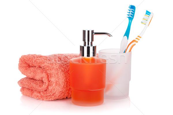 Vloeibare zeep handdoek handdoeken geïsoleerd witte Stockfoto © karandaev