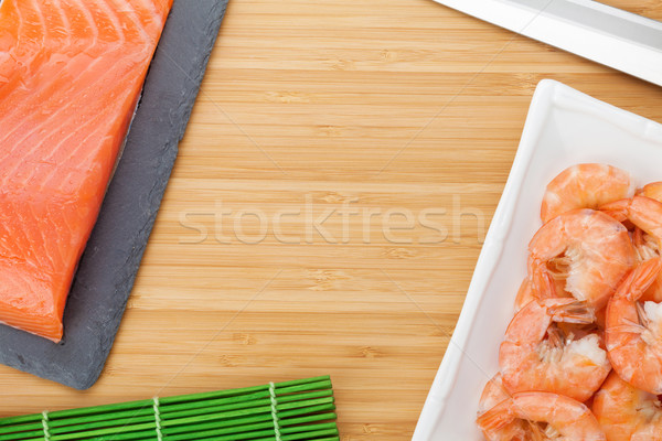Fresh sea food and kitchen utensils Stock photo © karandaev
