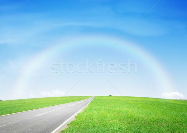 Aszfalt út zöld mező szivárvány nyár Stock fotó © karandaev