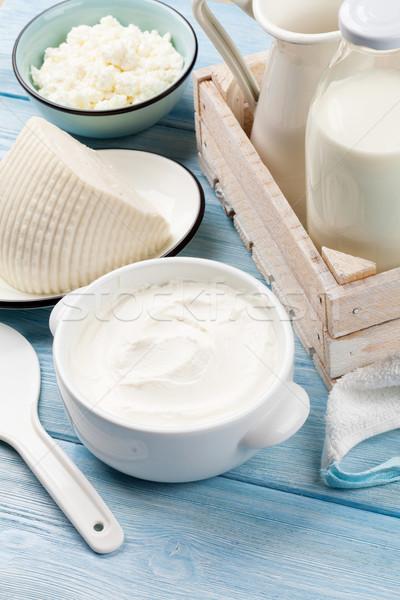 śmietana mleka ser jogurt drewniany stół Zdjęcia stock © karandaev