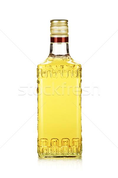 Stockfoto: Fles · goud · tequila · geïsoleerd · witte · glas